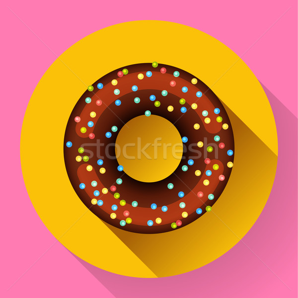 Cute Sweet красочный шоколадом пончик икона Сток-фото © MarySan