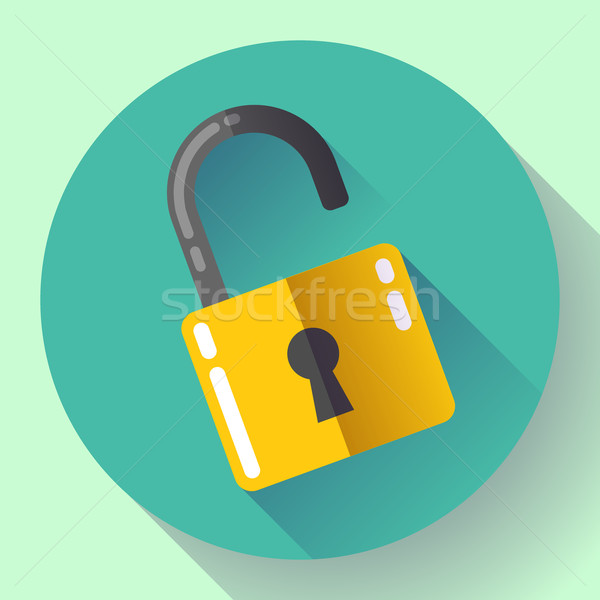 Vector open lock icon with long shadow. Flat design style. Stock photo © MarySan
