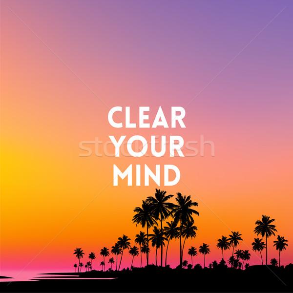 Vierkante wazig zonsondergang kleuren citaat abstract Stockfoto © MarySan