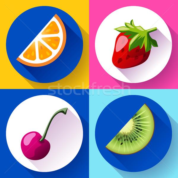 Zestaw projektu ikona owoce wody tekstury Zdjęcia stock © MarySan