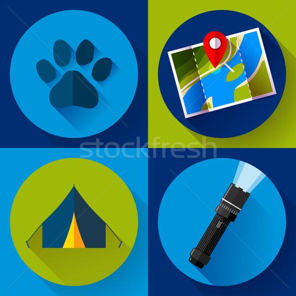 Camping Hiking icons set, flat design style vector Stock photo © MarySan