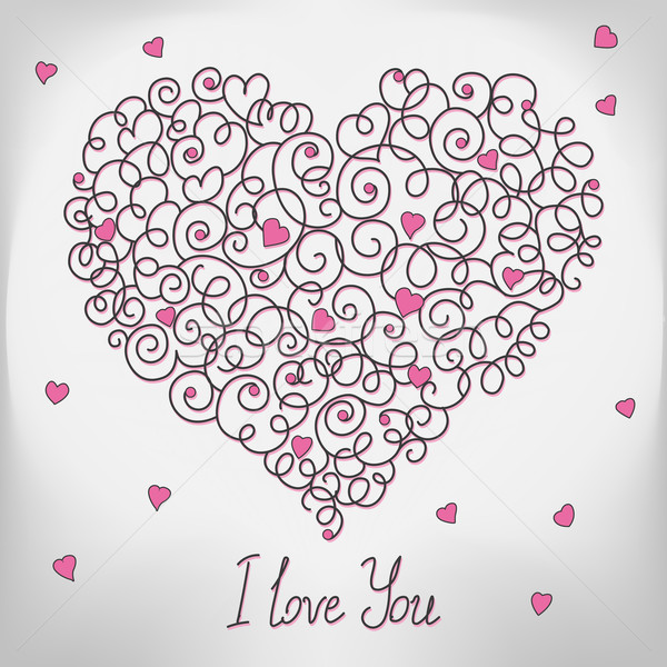 Greeting card with floral heart shape. I love You sign. Stock photo © MarySan