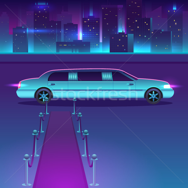 Limousine with a red carpet at night vector in front of city urban landscape, luxury metropolis. Stock photo © MarySan
