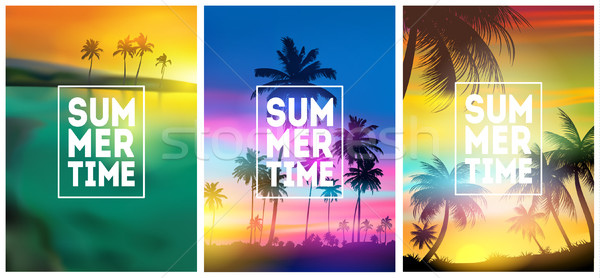Summer tropical backgrounds set with palms, sky and sunset. Summer placard, poster, flyer, invitatio Stock photo © MarySan