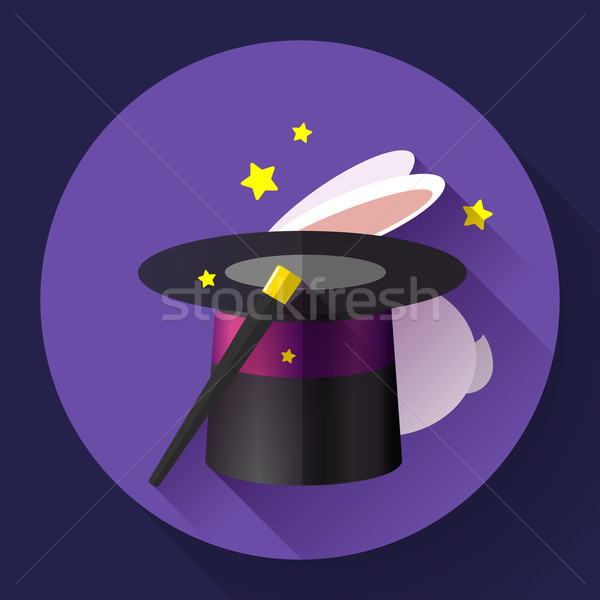 Stock photo: Rabbit and magic hat