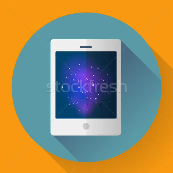 Vector tablet computer icon with space image. Flat style. Stock photo © MarySan