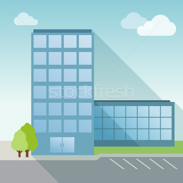 Office Building flat with long shadow Stock photo © MarySan
