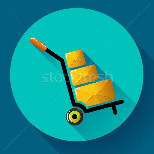 Warehouse Trolley flat 2.0 long shadow vector icon. Stock photo © MarySan