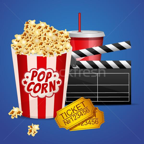 Realistyczny kina film plakat szablon film Zdjęcia stock © MarySan