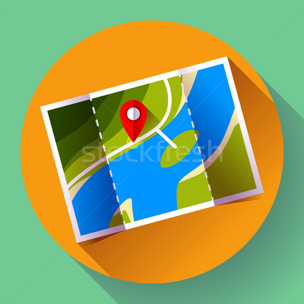 Pin on the map. Vector icon Stock photo © MarySan