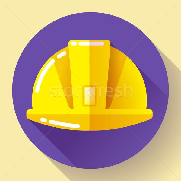 Yellow construction worker helmet icon. Flat design style. Stock photo © MarySan