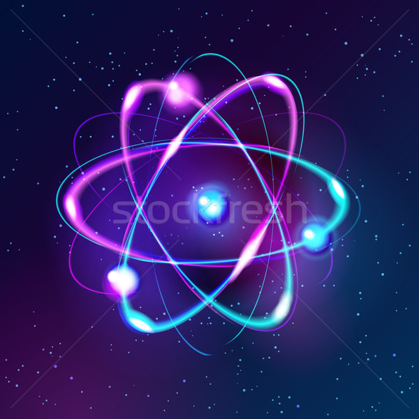 Blue Shining atom Abstract Technology dark background Stock photo © MarySan