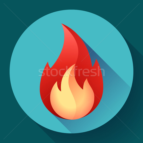 Red fire flame icon vector illustration Stock photo © MarySan