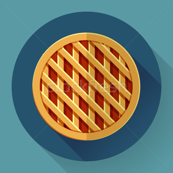 Sweet apple pie icon. Flat designed style Stock photo © MarySan