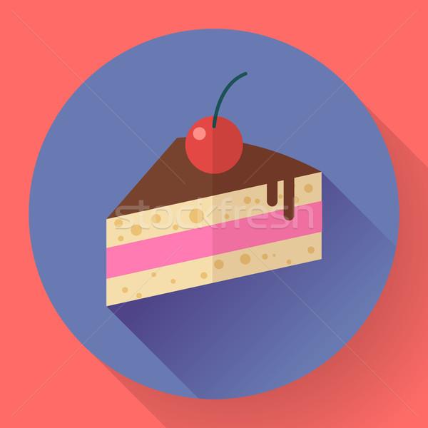 Piece of cake with cherry icon, modern minimal flat design style Stock photo © MarySan