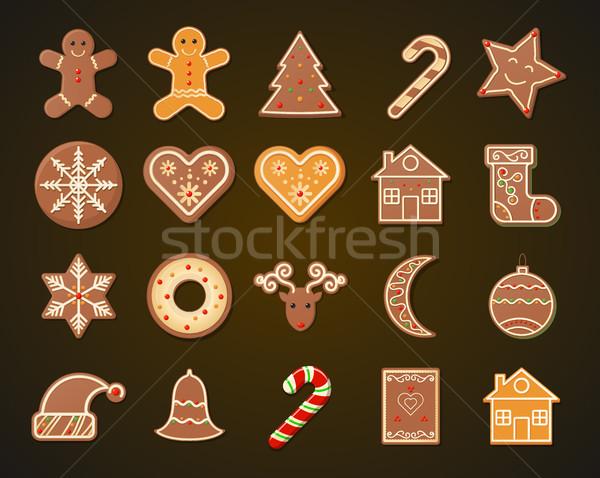 Рождества пряничный Cookies набор темно бумаги Сток-фото © MarySan