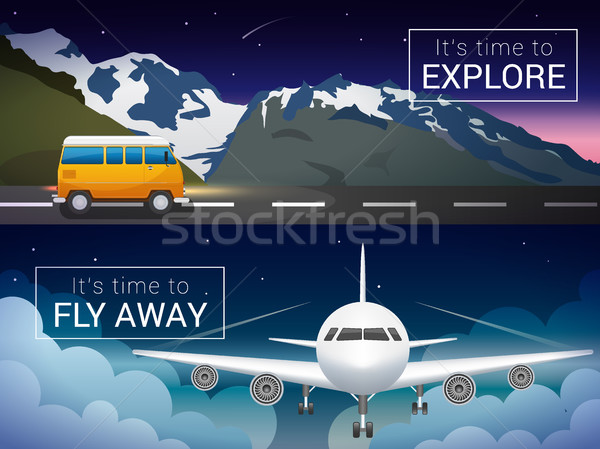 Vector travel banners set. Passenger airplane in the clouds., Alps mountains, minibus in the wild Stock photo © MarySan