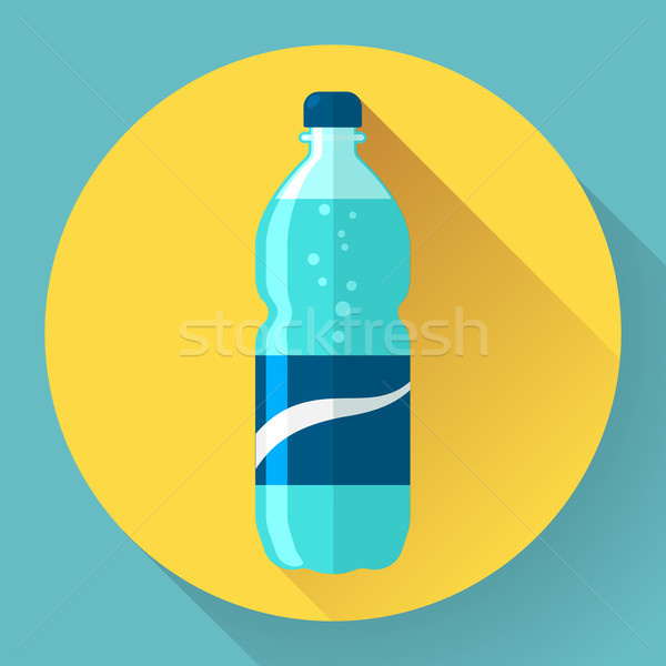 Flat Style Icon with Long Shadow. A bottle of water. Stock photo © MarySan