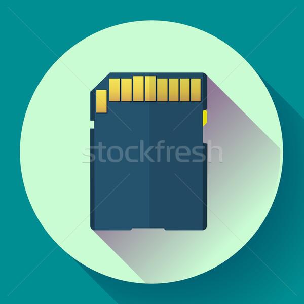 Geheugen kaart icon ontwerp stijl digitale Stockfoto © MarySan