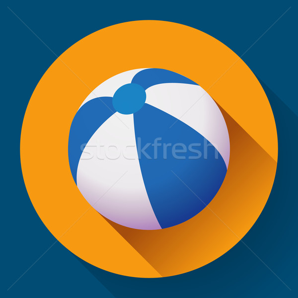Strandbal icon moderne stijl lang schaduw Stockfoto © MarySan