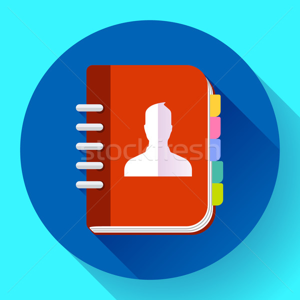 Stock photo: Address phone book icon, notebook icon. Flat design style