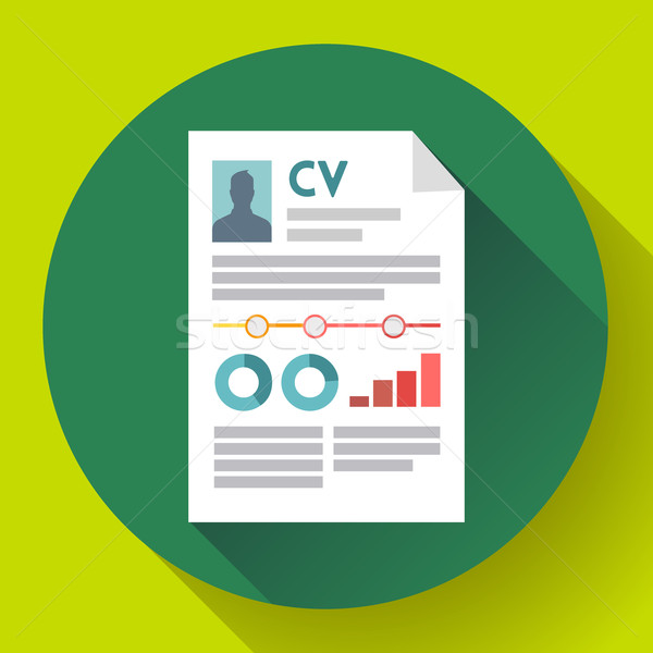 CV resume icon. Modern flat 2.0 style Stock photo © MarySan