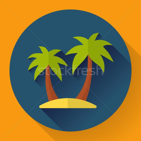 Dłoni wyspa podróży ikona stylu plaży Zdjęcia stock © MarySan
