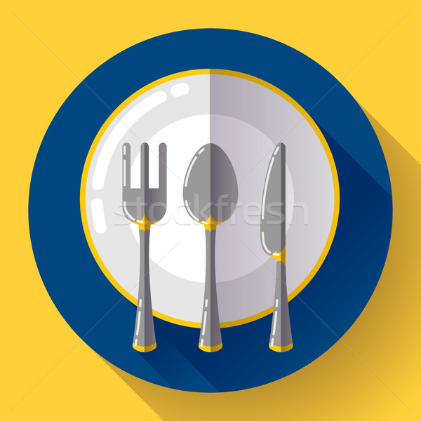 Stock photo: Dishes - Plate knife and fork icon. Flat vector design with long shadow