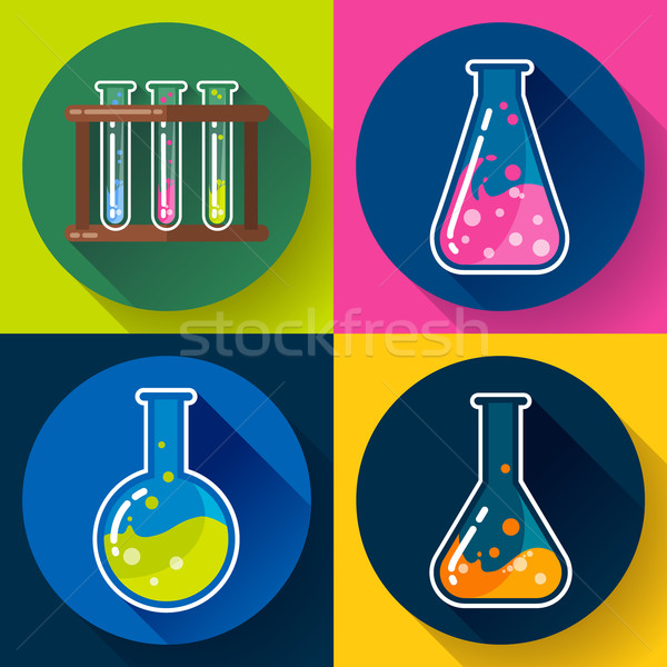 Set of Chemical lab flasks icons. Flat design style. Stock photo © MarySan