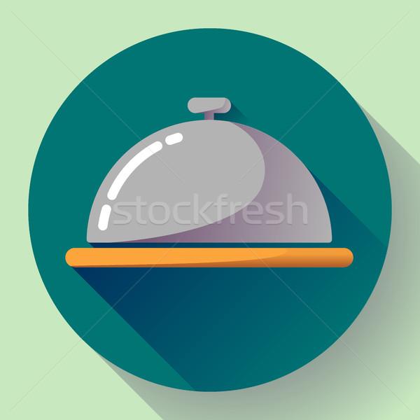 Restaurante vetor ícone serviço de quarto símbolo botão Foto stock © MarySan
