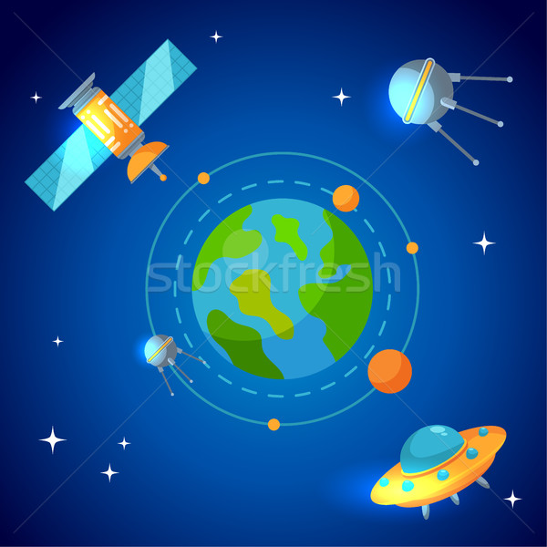 Planet earth and satellites in orbit Stock photo © MarySan