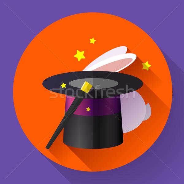 Konijn magie hoed ontwerp stijl icon Stockfoto © MarySan