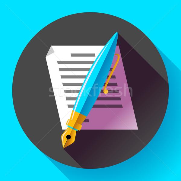Edit document sign symbol icon vector. Flat designed style. Stock photo © MarySan