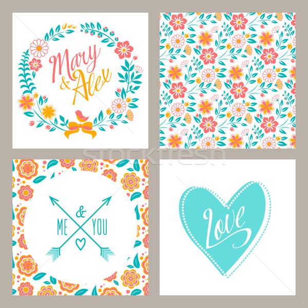 Bruiloft ingesteld uitnodiging kaarten bloemen harten Stockfoto © MarySan