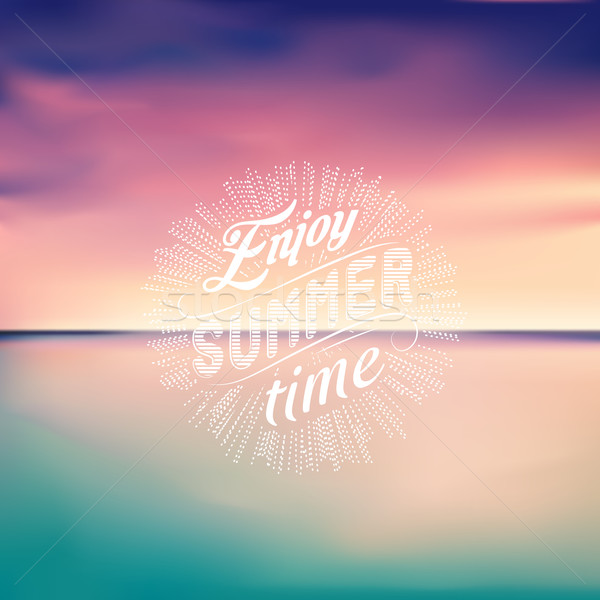 Sea sunset. Seascape background. Enjoy Summer time. Vector Illustration. Stock photo © MarySan