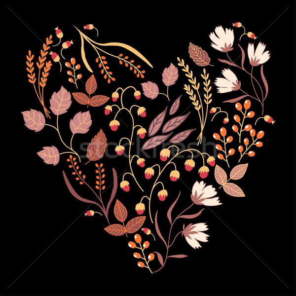 Escuro outono floral cartão cair Foto stock © MarySan