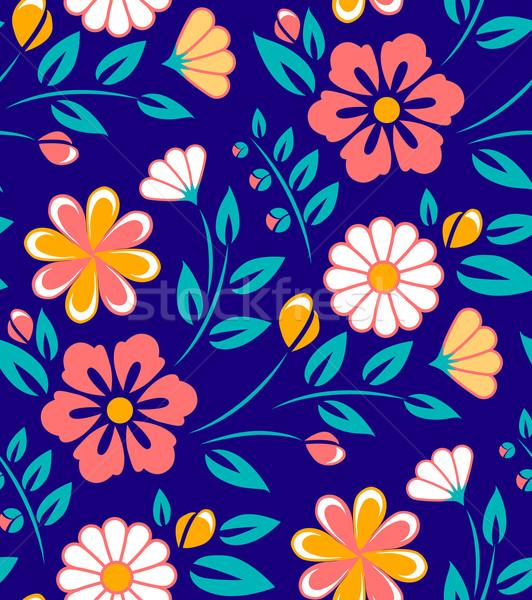 Senza soluzione di continuità fiore di primavera pattern blu buio fiore Foto d'archivio © MarySan