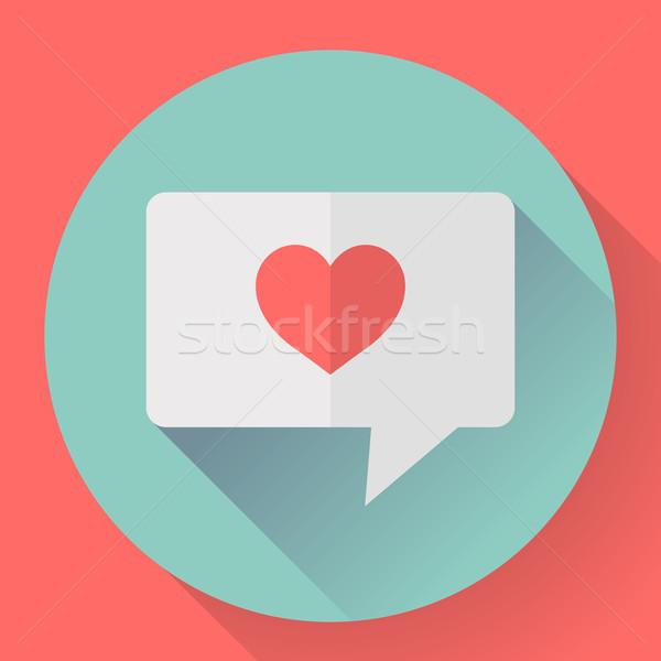 Stock photo: Heart in speech bubble icon. Flat Vector illustration