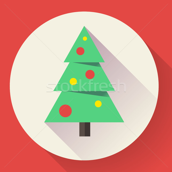 Color icon of christmas tree. Flat designed style Stock photo © MarySan
