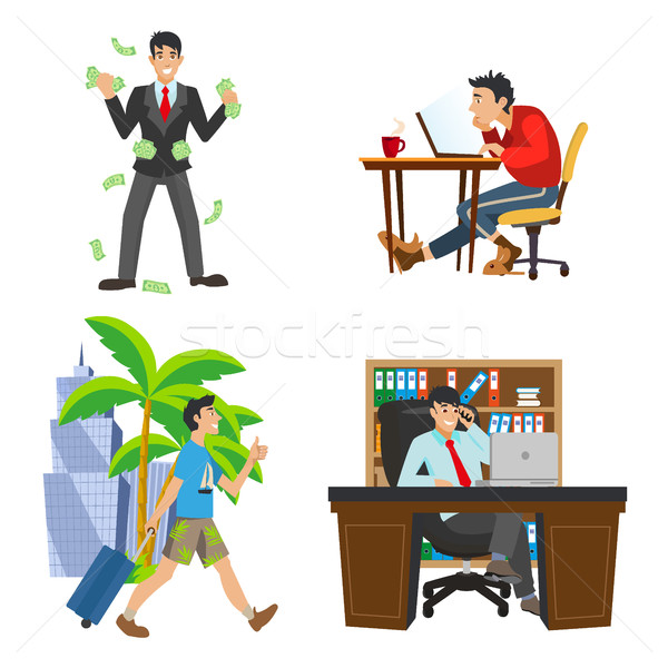 businessman character. The life of the unemployed to rich man. Work and travel. Workplace boss. Stock photo © MarySan