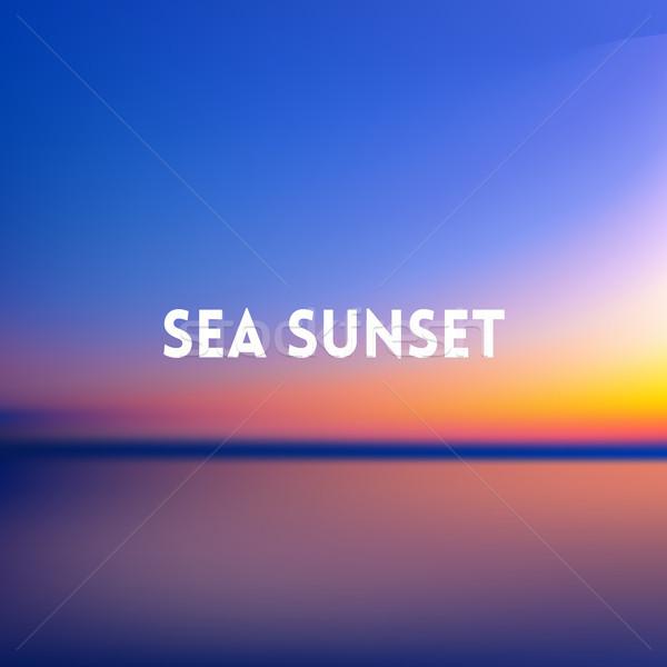 Praça turva azul pôr do sol mar palmeira Foto stock © MarySan