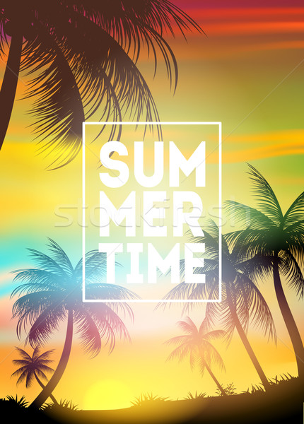 Summer Time poster. Text with frame on palm trees and the sunset Stock photo © MarySan