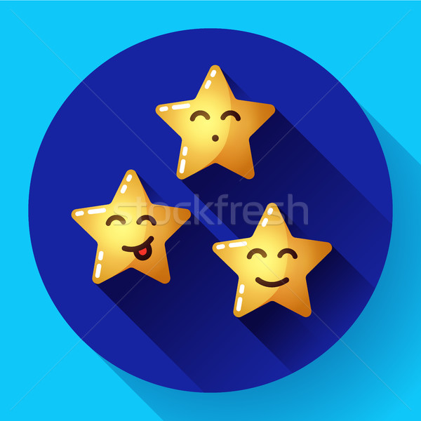 Emoticon desenho animado estrelas expressões faciais emoções Foto stock © MarySan