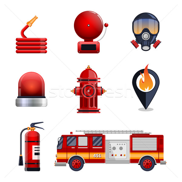 Firefighter elements set collection Stock photo © MarySan