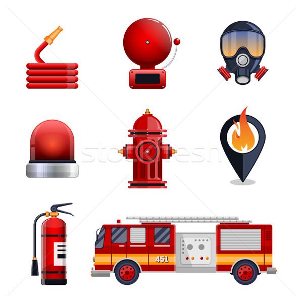 Brandweerman communie ingesteld collectie masker blusapparaat Stockfoto © MarySan