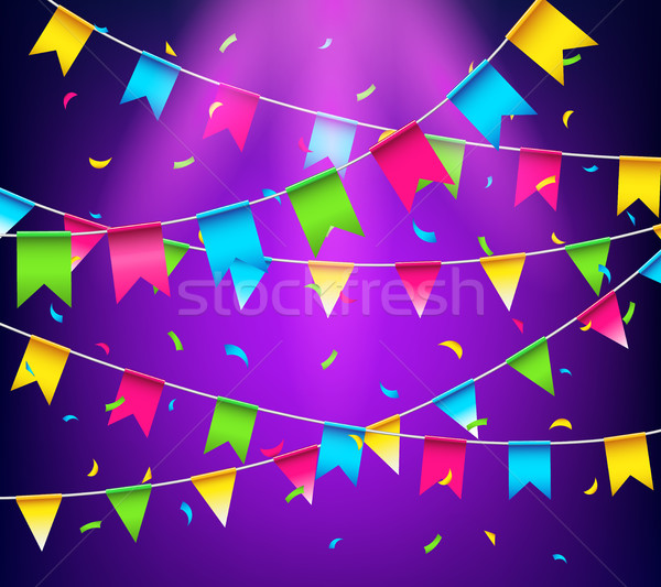 Multicolored bright buntings garlands. Party flags with confetti Stock photo © MarySan