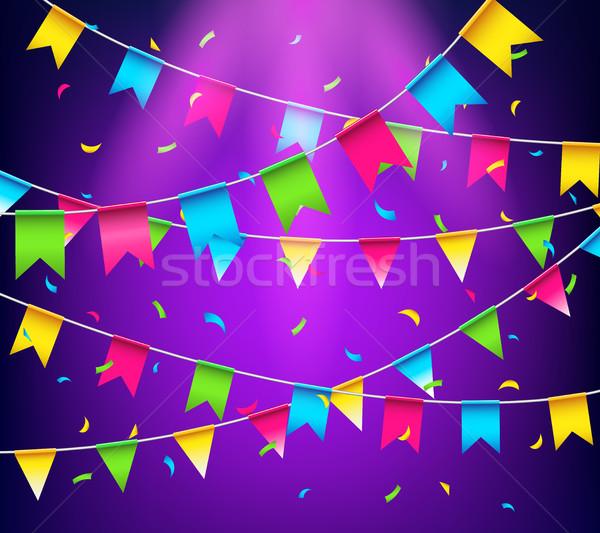 Wielobarwny jasne strony flagi konfetti świętować Zdjęcia stock © MarySan