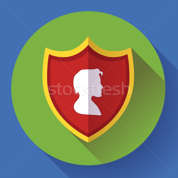 shield icon with male profile - protection symbol. Flat design style. Stock photo © MarySan