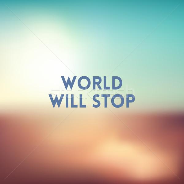 Vierkante wazig zonsondergang kleuren citaat wereld Stockfoto © MarySan