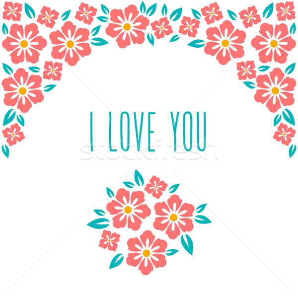 Kwiat zaproszenie na ślub karty zapisać data powitanie Zdjęcia stock © MarySan
